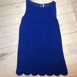 Mittoshop Bright Blue Scallop Hem Sleeveless Dress